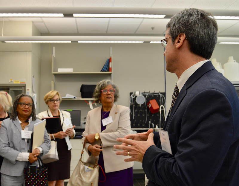 BTEC Acting Director Gary Gilleskie spoke with state Sen. Angela Bryant, Susie Farrell (state Rep. Susan Martin's legislative aide), and Rep. Yvonne Holley when they toured BTEC Sept. 22.