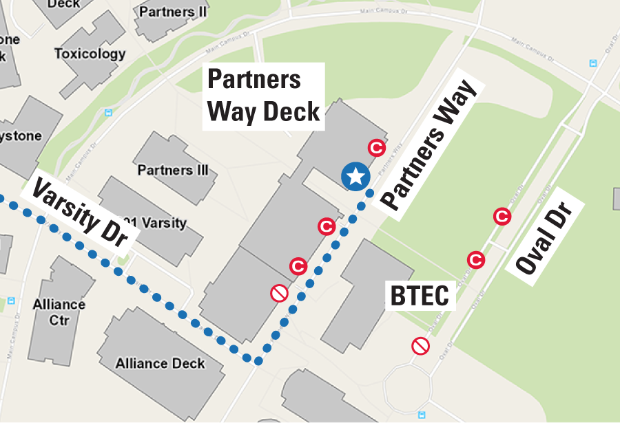 map of Partners Way parking deck
