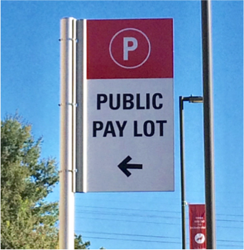 photo of public pay lot sign