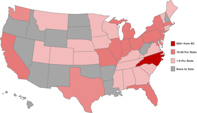 Map of United States highlighting states where participants live